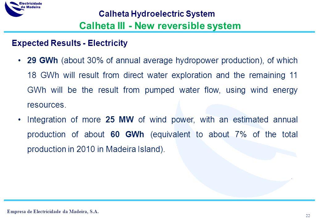 Calheta Hydroelectric System Calheta III - New reversible system
