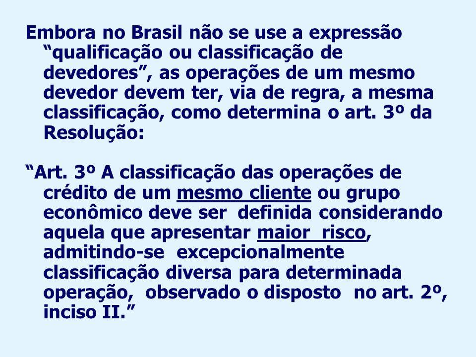 Embora no Brasil não se use a expressão qualificação ou classificação de devedores , as operações de um mesmo devedor devem ter, via de regra, a mesma classificação, como determina o art. 3º da Resolução: