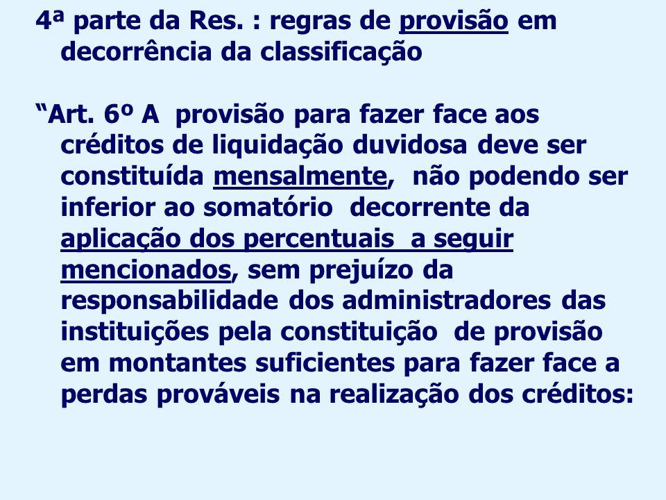 4ª parte da Res. : regras de provisão em decorrência da classificação