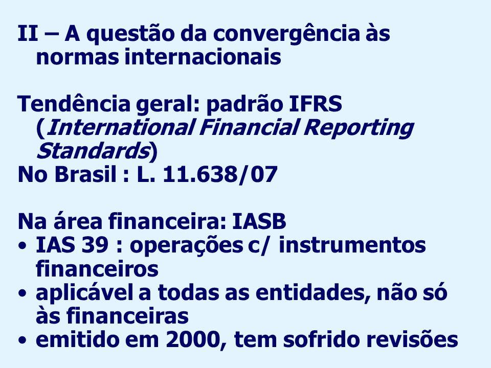 II – A questão da convergência às normas internacionais