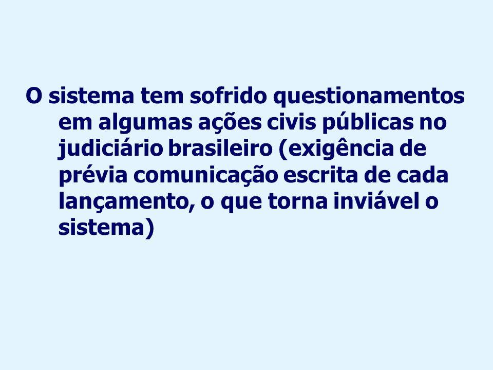O sistema tem sofrido questionamentos em algumas ações civis públicas no judiciário brasileiro (exigência de prévia comunicação escrita de cada lançamento, o que torna inviável o sistema)