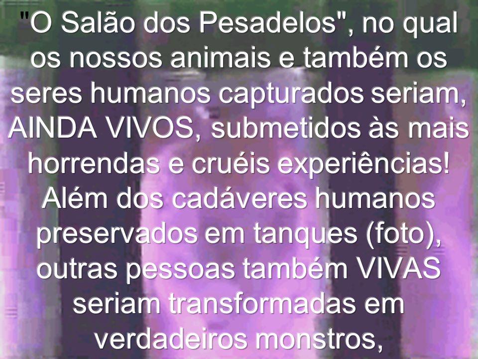 O Salão dos Pesadelos , no qual os nossos animais e também os seres humanos capturados seriam, AINDA VIVOS, submetidos às mais horrendas e cruéis experiências.