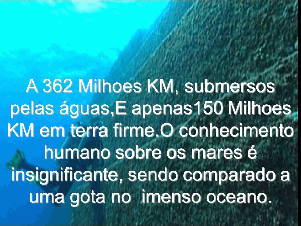 A 362 Milhoes KM, submersos pelas águas,E apenas150 Milhoes KM em terra firme.O conhecimento humano sobre os mares é insignificante, sendo comparado a uma gota no imenso oceano.