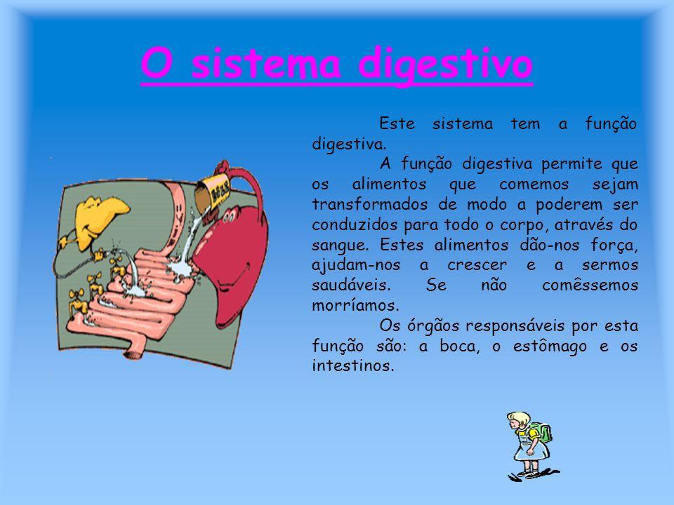 O sistema digestivo Este sistema tem a função digestiva.