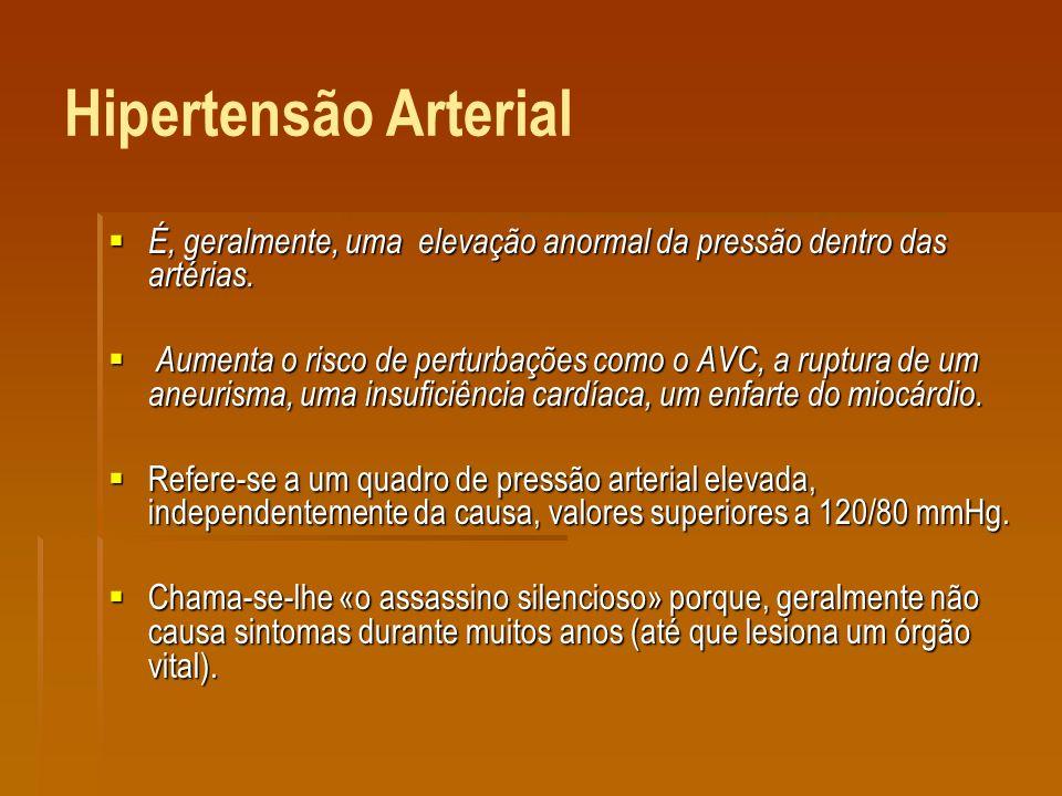 Hipertensão Arterial É, geralmente, uma elevação anormal da pressão dentro das artérias.