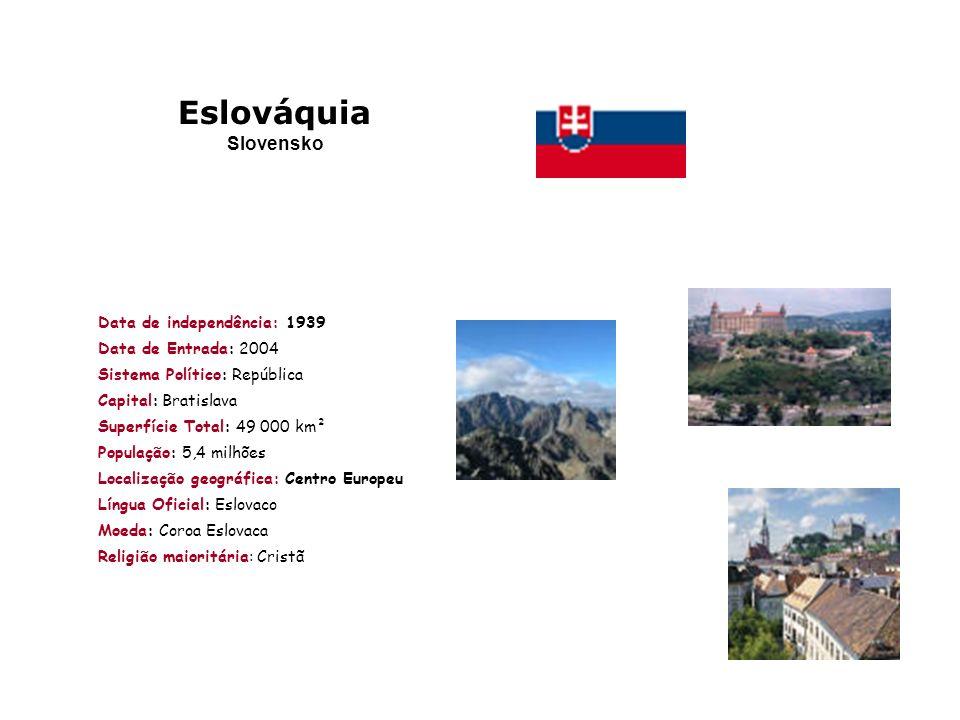 Eslováquia Slovensko Data de independência: 1939