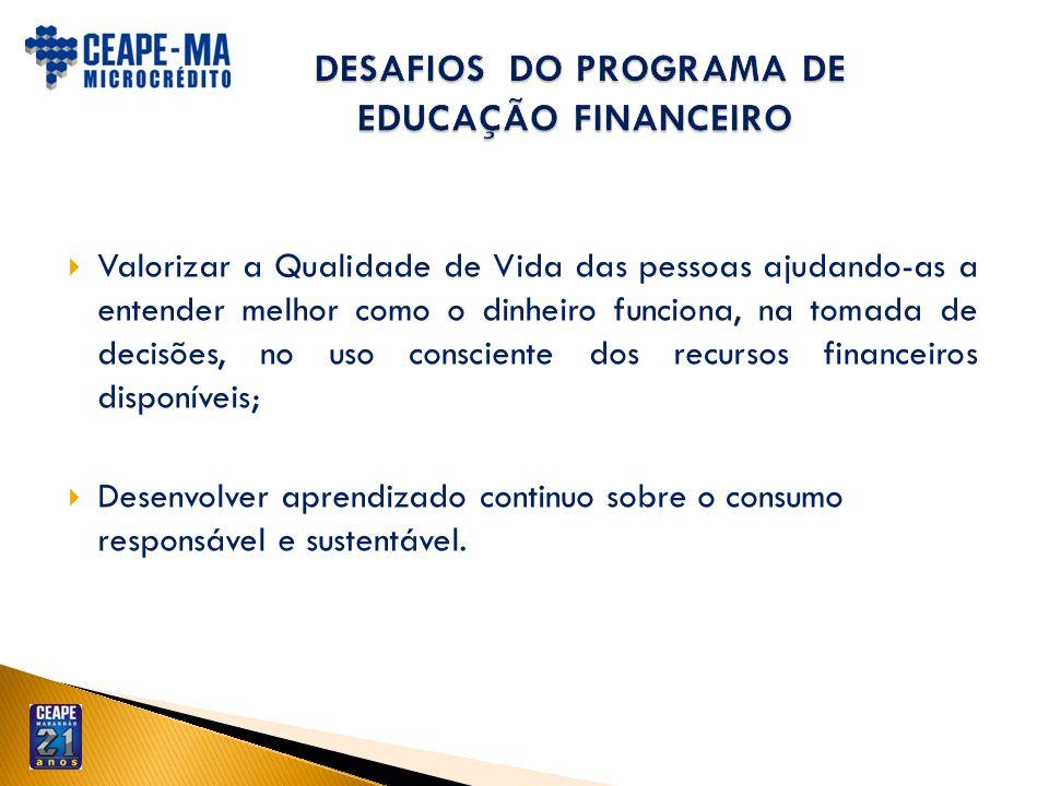 DESAFIOS DO PROGRAMA DE EDUCAÇÃO FINANCEIRO