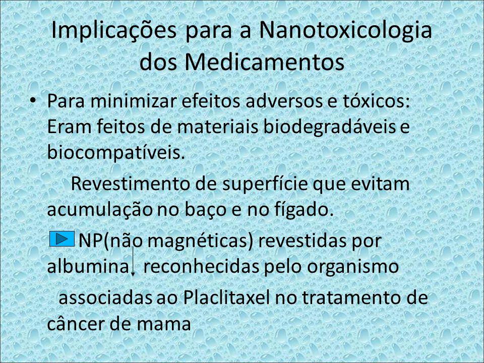 Implicações para a Nanotoxicologia dos Medicamentos