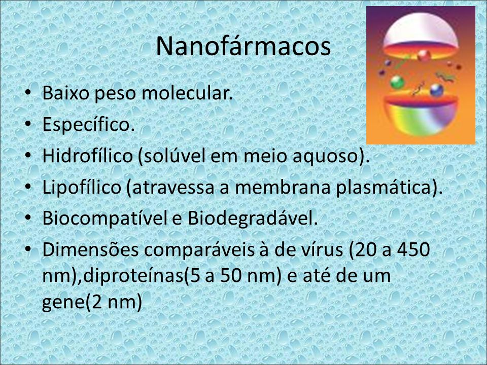 Nanofármacos Baixo peso molecular. Específico.