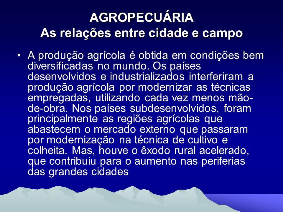 AGROPECUÁRIA As relações entre cidade e campo