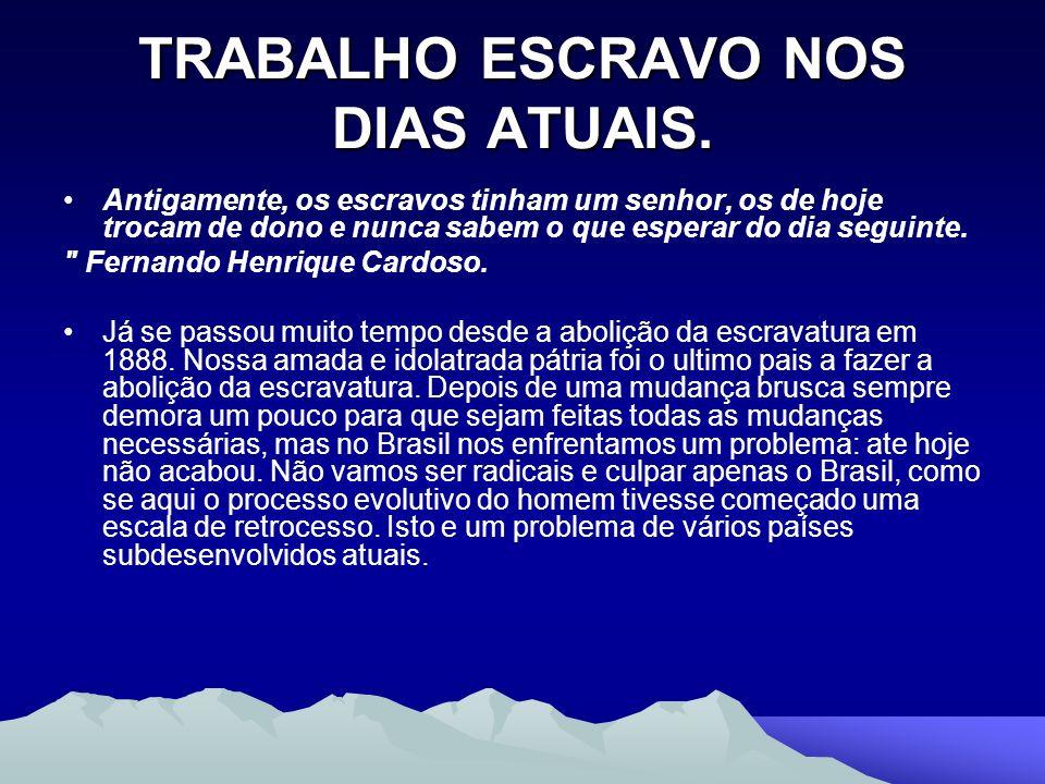 TRABALHO ESCRAVO NOS DIAS ATUAIS.