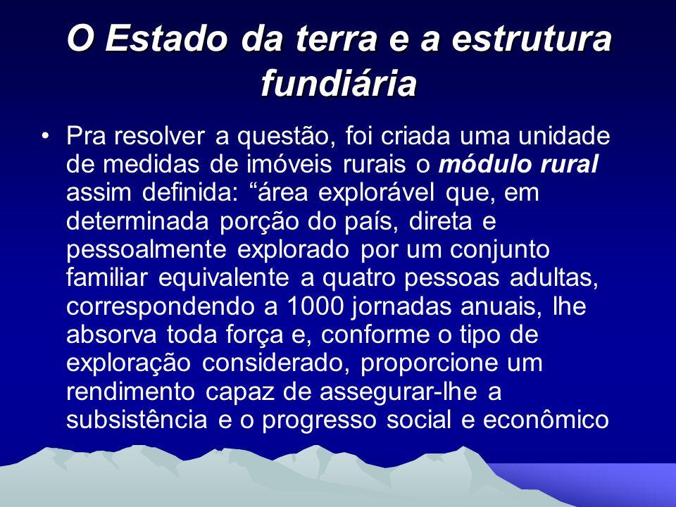 O Estado da terra e a estrutura fundiária