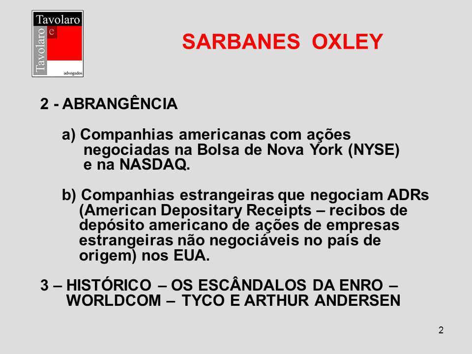 SARBANES OXLEY 2 - ABRANGÊNCIA a) Companhias americanas com ações