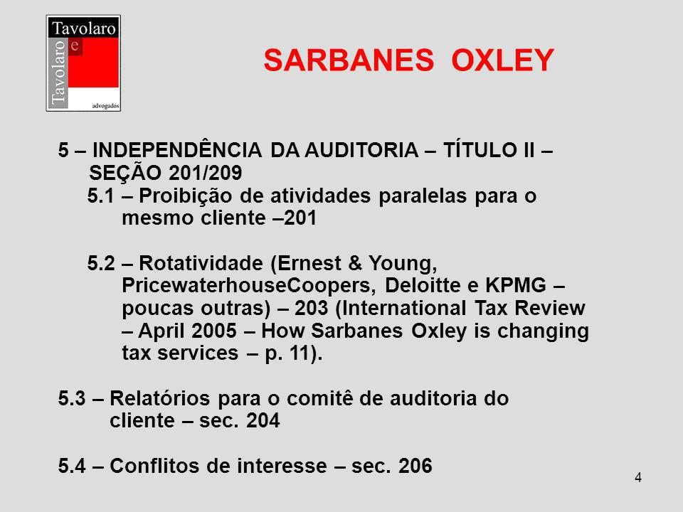 SARBANES OXLEY 5 – INDEPENDÊNCIA DA AUDITORIA – TÍTULO II –
