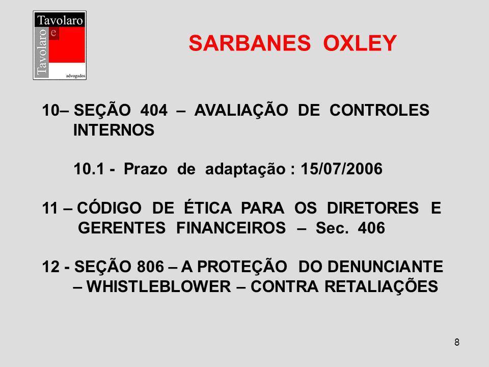SARBANES OXLEY – SEÇÃO 404 – AVALIAÇÃO DE CONTROLES INTERNOS