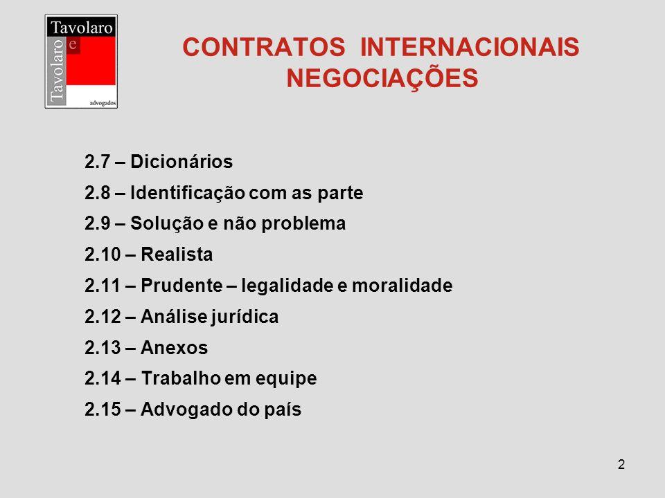 CONTRATOS INTERNACIONAIS NEGOCIAÇÕES
