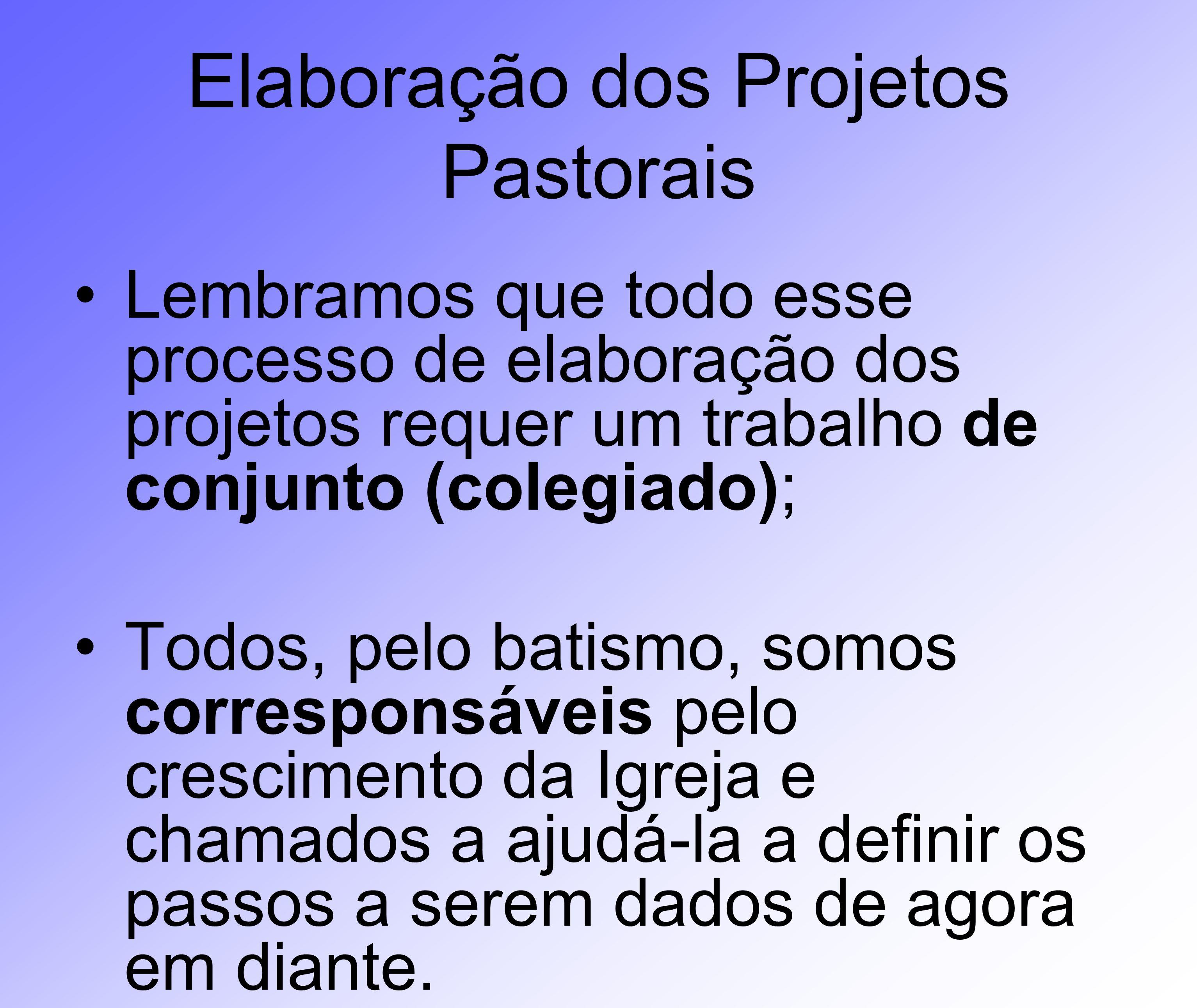 Elaboração dos Projetos Pastorais