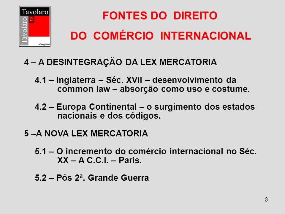 FONTES DO DIREITO DO COMÉRCIO INTERNACIONAL