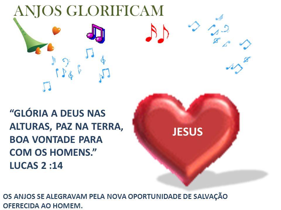 ANJOS GLORIFICAM JESUS JESUS GLÓRIA A DEUS NAS ALTURAS, PAZ NA TERRA,