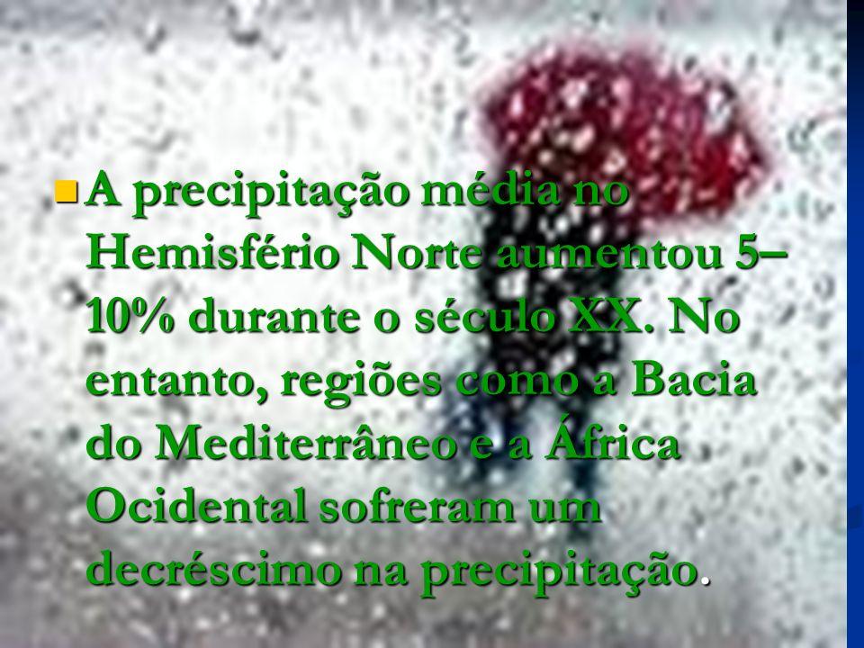 A precipitação média no Hemisfério Norte aumentou 5–10% durante o século XX.