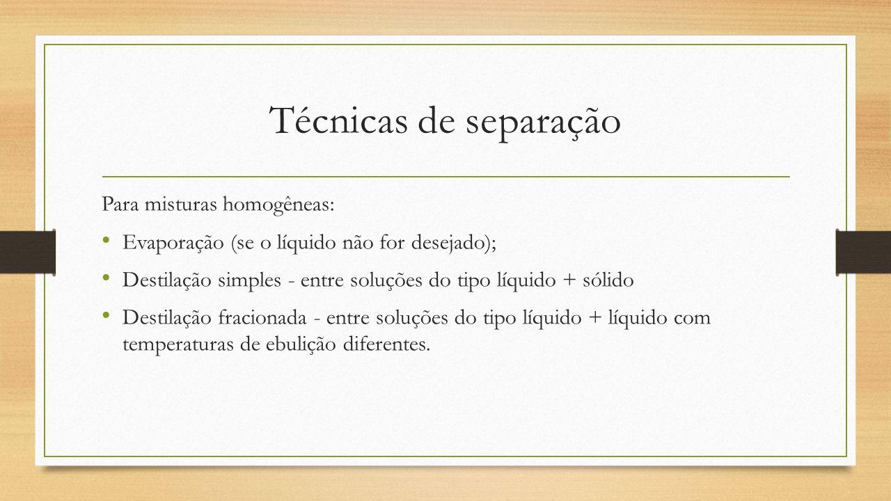 Técnicas de separação Para misturas homogêneas: