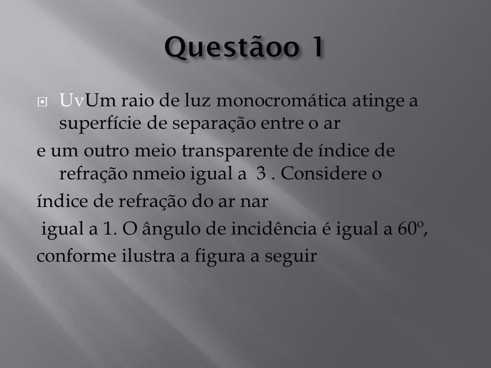 Questãoo 1 UvUm raio de luz monocromática atinge a superfície de separação entre o ar.