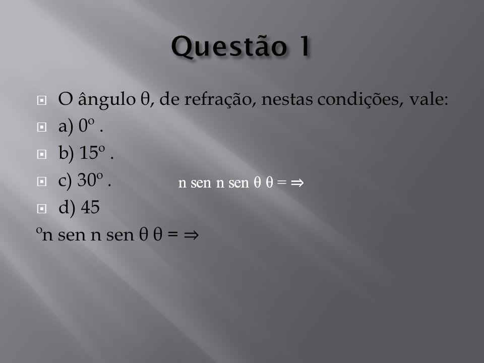 Questão 1 O ângulo θ, de refração, nestas condições, vale: a) 0º .