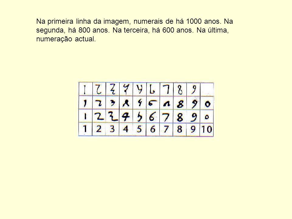 Na primeira linha da imagem, numerais de há 1000 anos