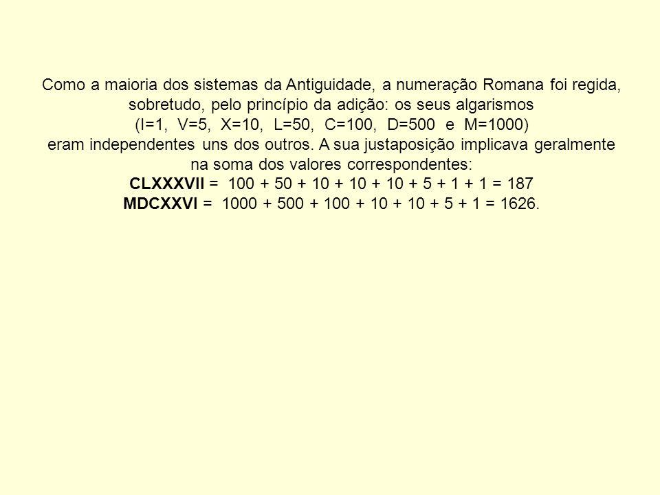 Como a maioria dos sistemas da Antiguidade, a numeração Romana foi regida, sobretudo, pelo princípio da adição: os seus algarismos