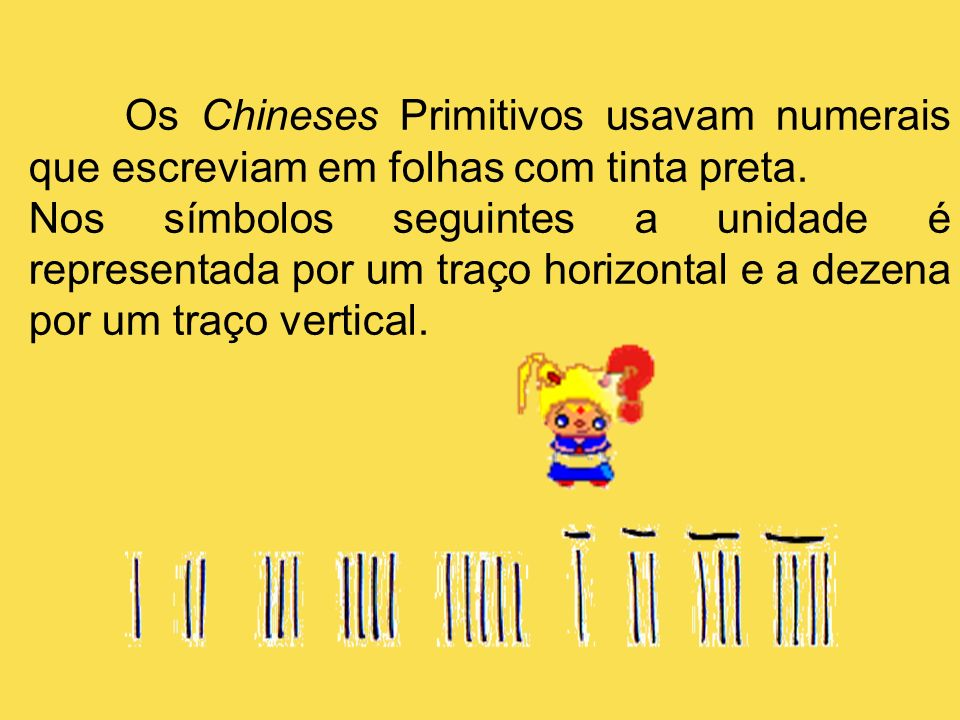 Os Chineses Primitivos usavam numerais que escreviam em folhas com tinta preta.