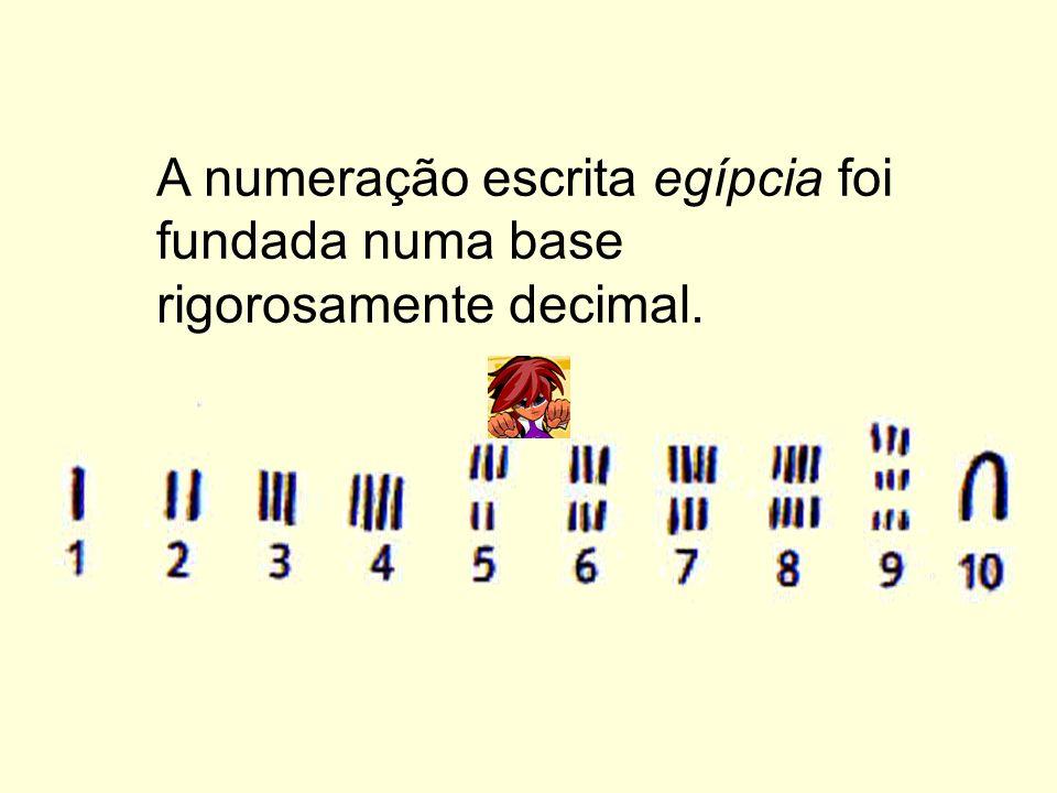 A numeração escrita egípcia foi fundada numa base rigorosamente decimal.