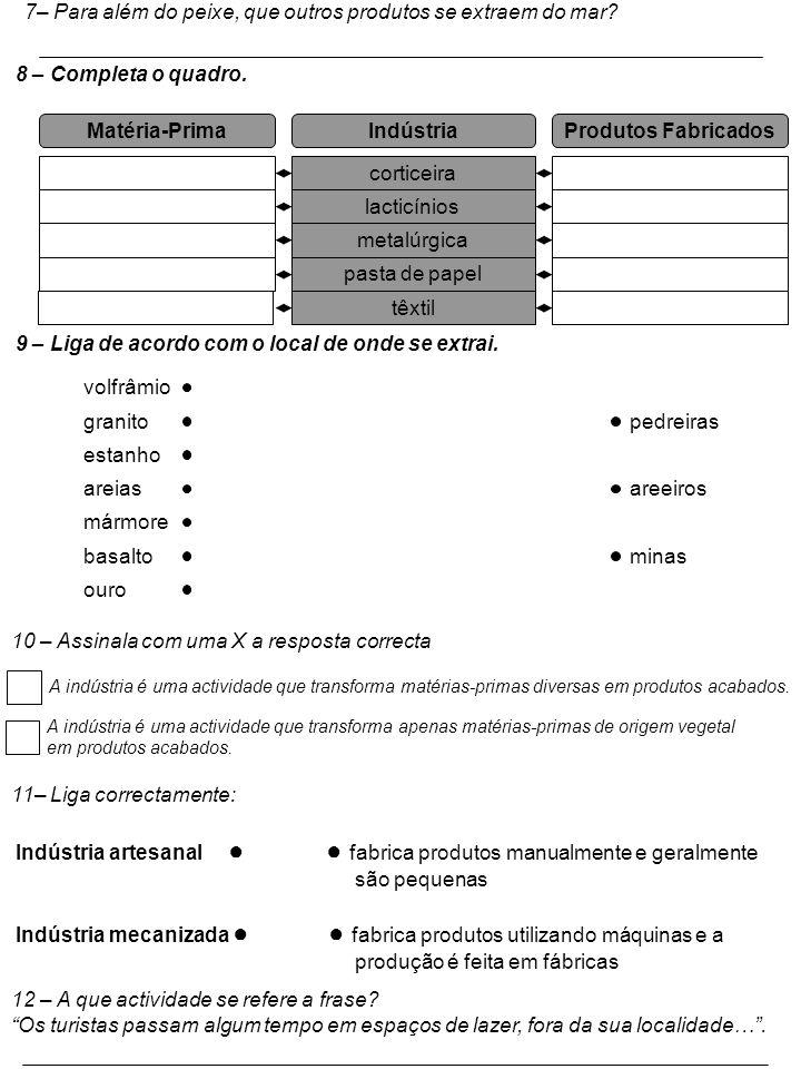 Matéria-Prima Indústria Produtos Fabricados