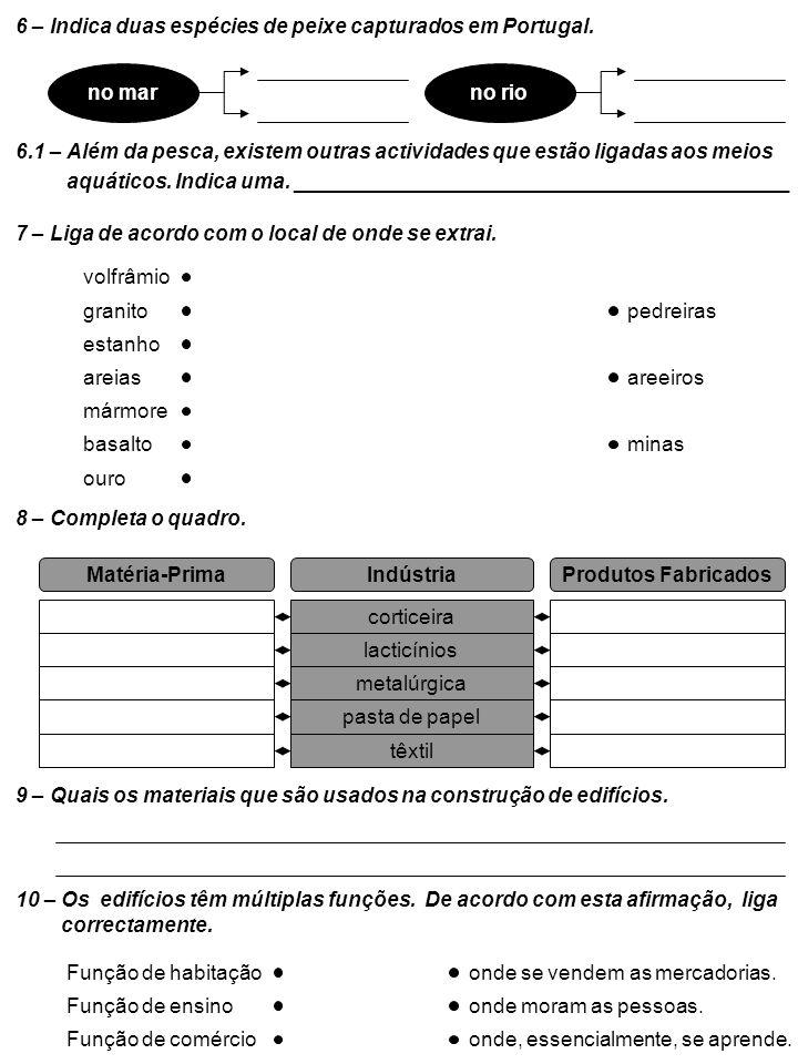 6 – Indica duas espécies de peixe capturados em Portugal.