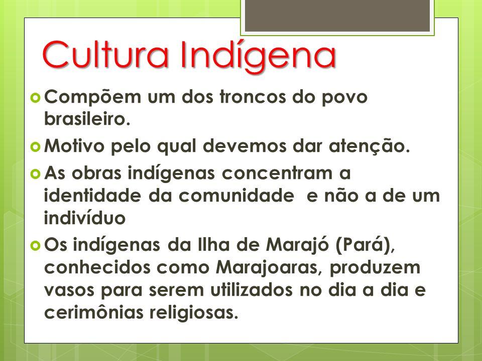Cultura Indígena Compõem um dos troncos do povo brasileiro.