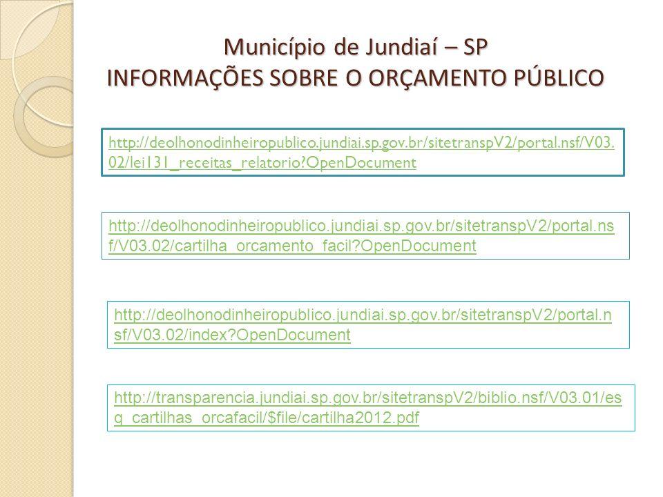 Município de Jundiaí – SP INFORMAÇÕES SOBRE O ORÇAMENTO PÚBLICO