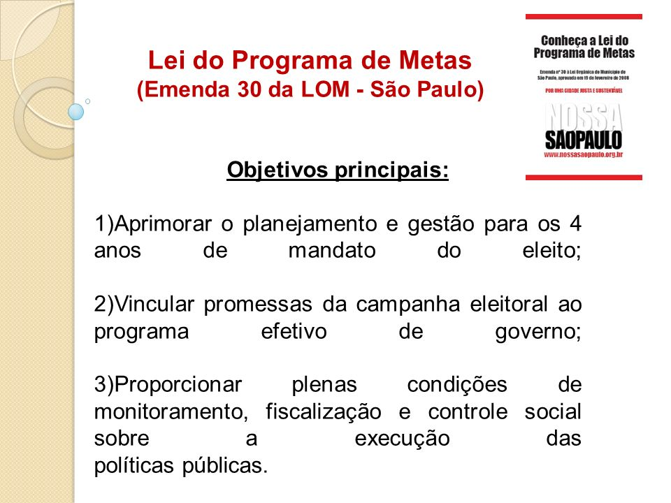 Lei do Programa de Metas (Emenda 30 da LOM - São Paulo)