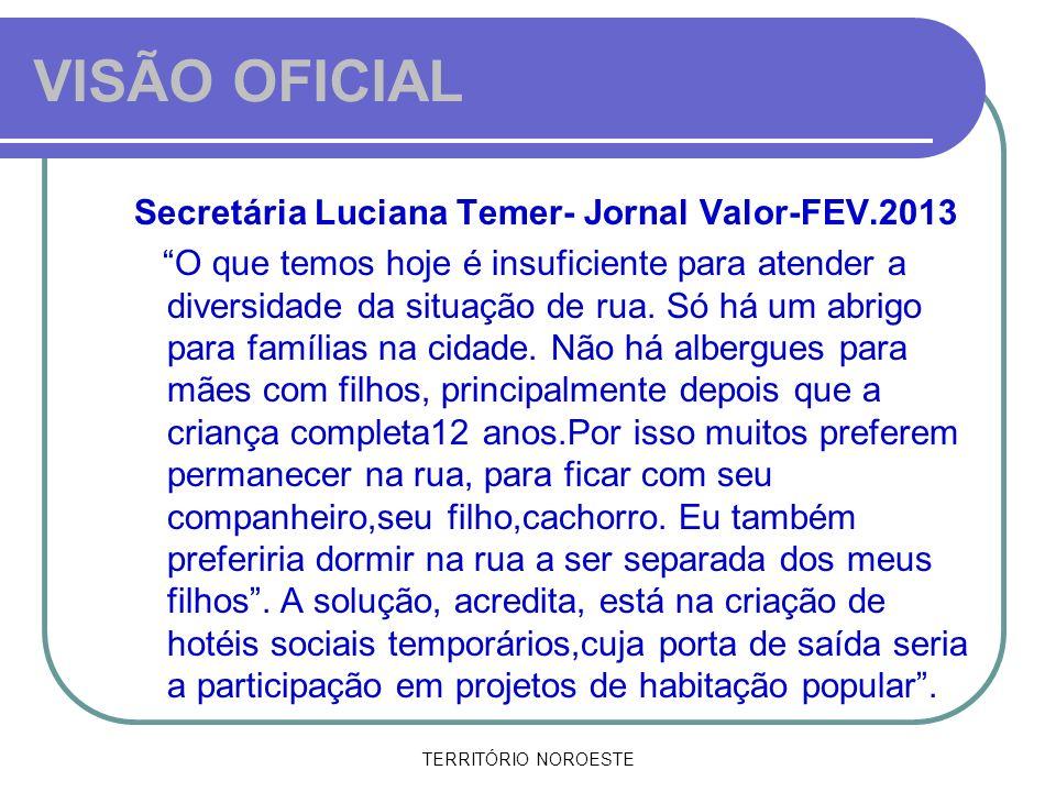 VISÃO OFICIAL Secretária Luciana Temer- Jornal Valor-FEV.2013