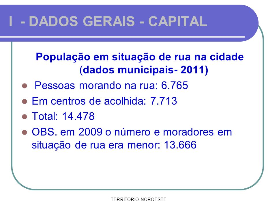 I - DADOS GERAIS - CAPITAL