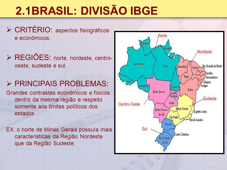 2.1BRASIL: DIVISÃO IBGE CRITÉRIO: aspectos fisiográficos e econômicos.