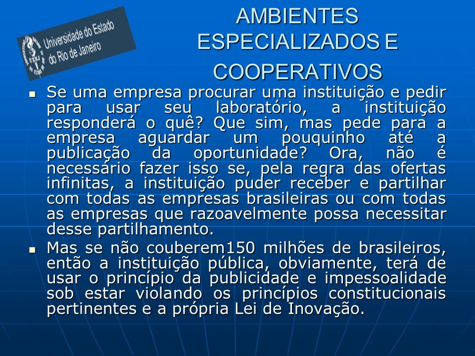 AMBIENTES ESPECIALIZADOS E COOPERATIVOS