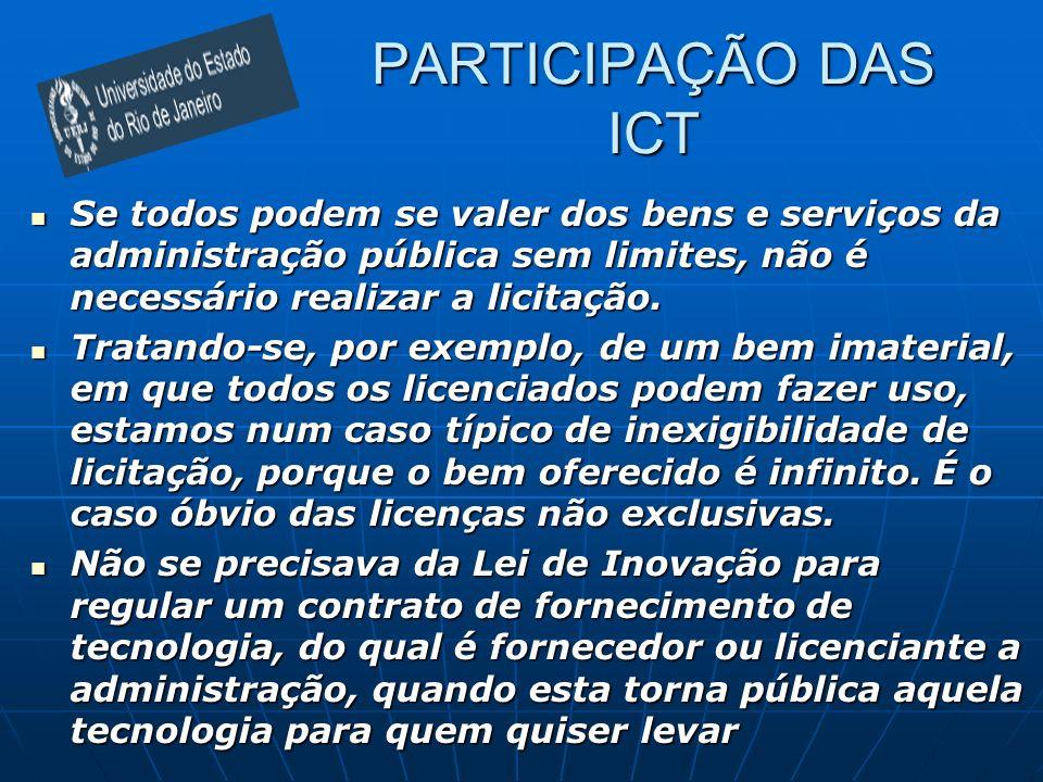 PARTICIPAÇÃO DAS ICT Se todos podem se valer dos bens e serviços da administração pública sem limites, não é necessário realizar a licitação.