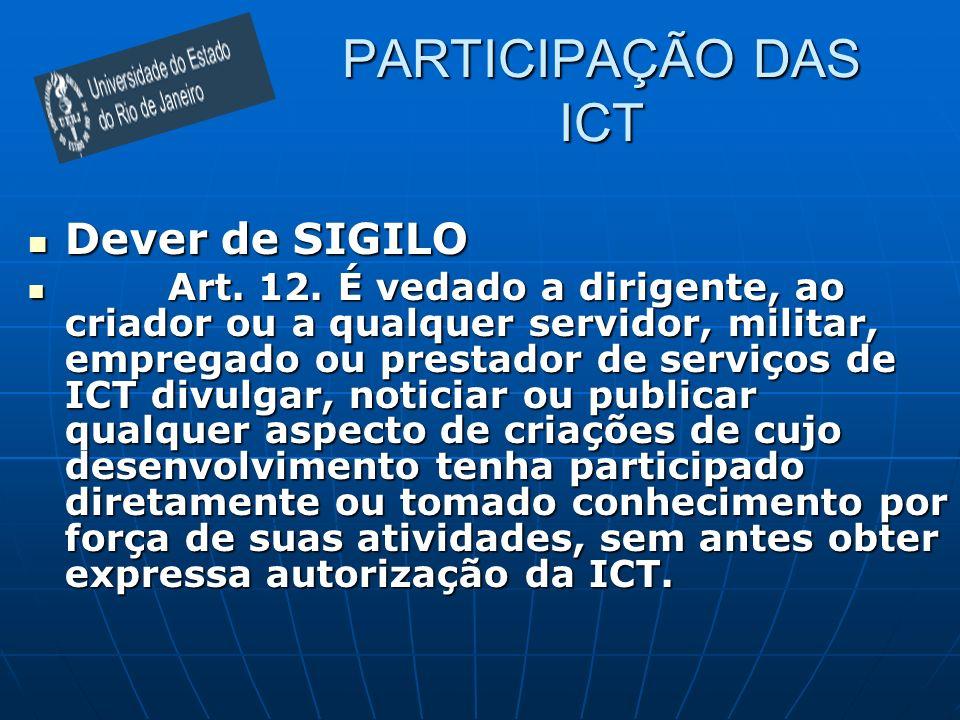 PARTICIPAÇÃO DAS ICT Dever de SIGILO