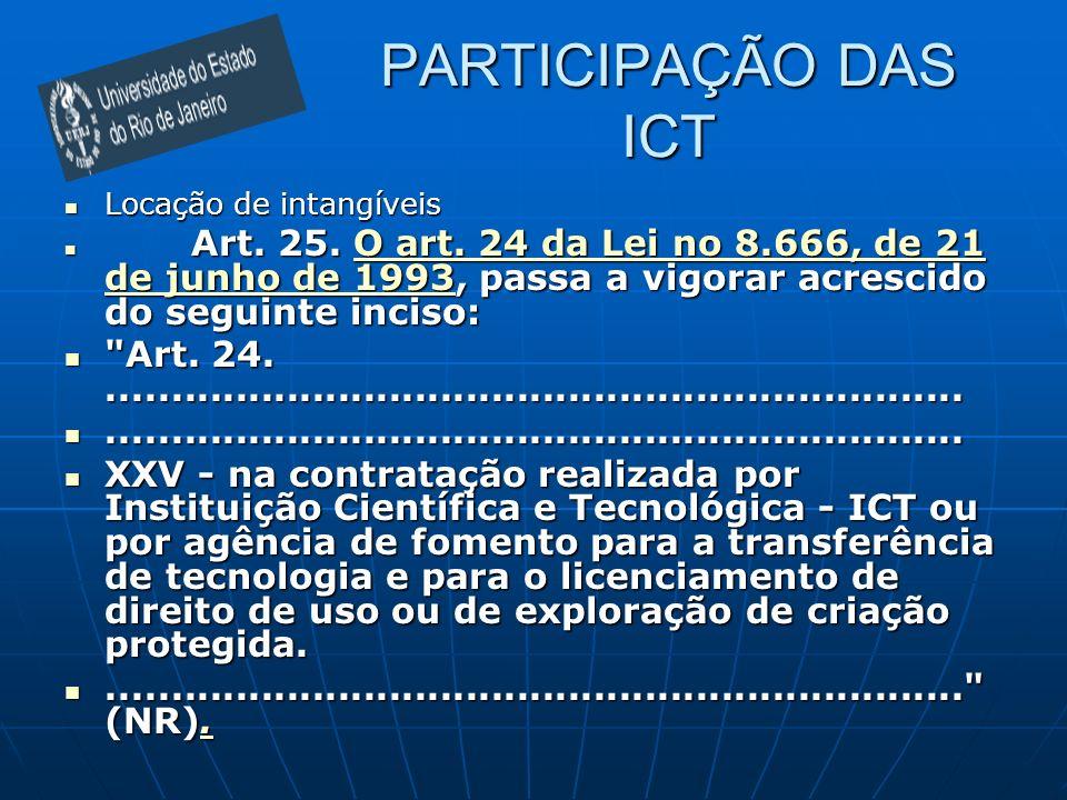 PARTICIPAÇÃO DAS ICT Locação de intangíveis