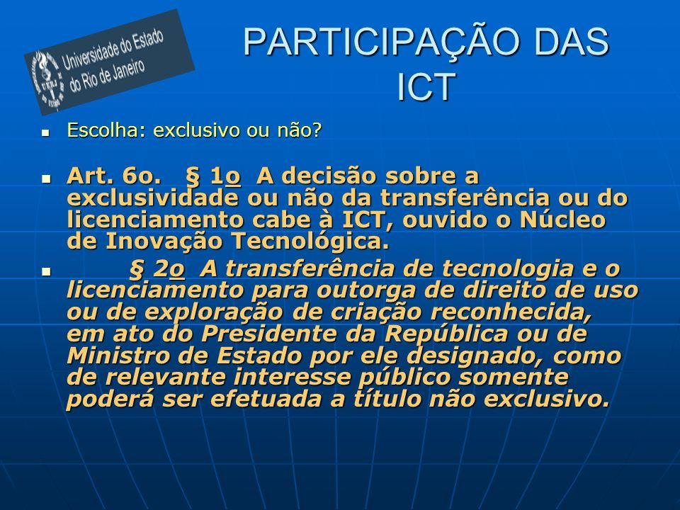 PARTICIPAÇÃO DAS ICT Escolha: exclusivo ou não