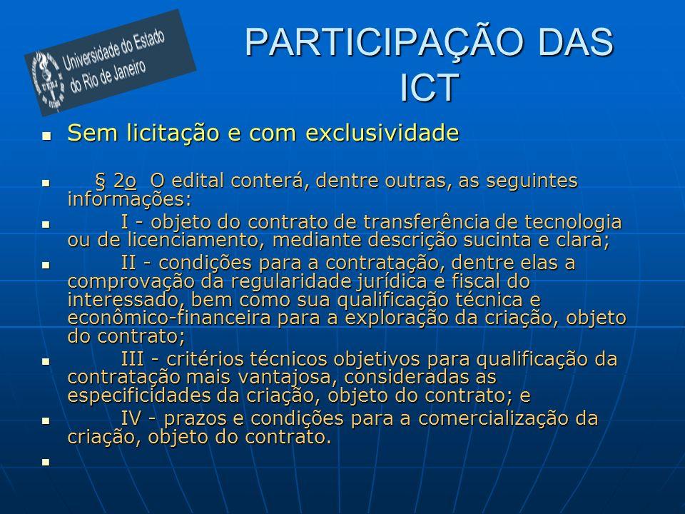 PARTICIPAÇÃO DAS ICT Sem licitação e com exclusividade