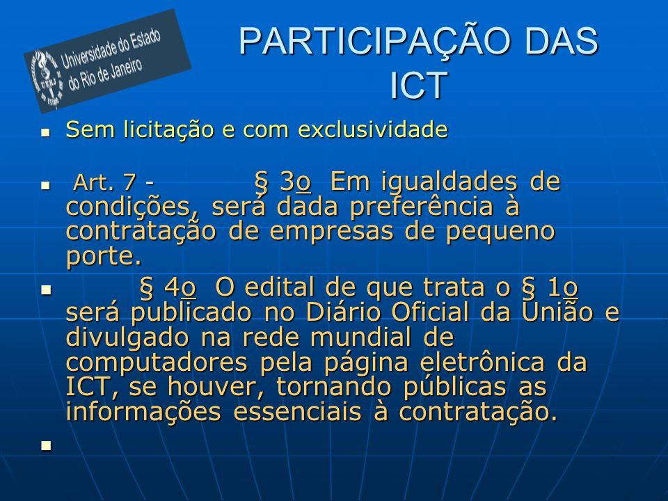 PARTICIPAÇÃO DAS ICTSem licitação e com exclusividade
