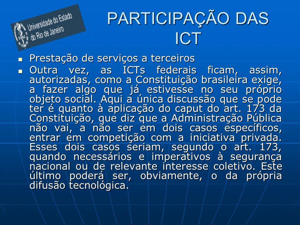 PARTICIPAÇÃO DAS ICT Prestação de serviços a terceiros