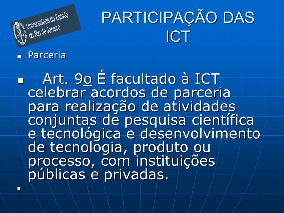 PARTICIPAÇÃO DAS ICT Parceria