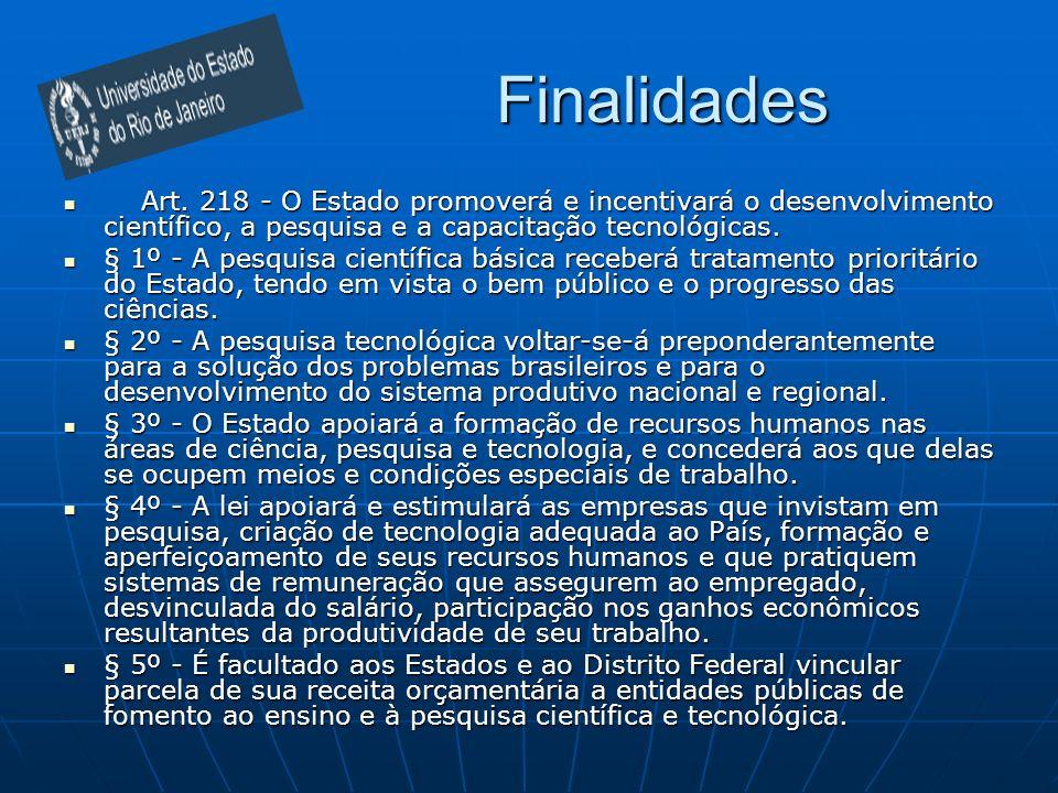 Finalidades Art. 218 - O Estado promoverá e incentivará o desenvolvimento científico, a pesquisa e a capacitação tecnológicas.