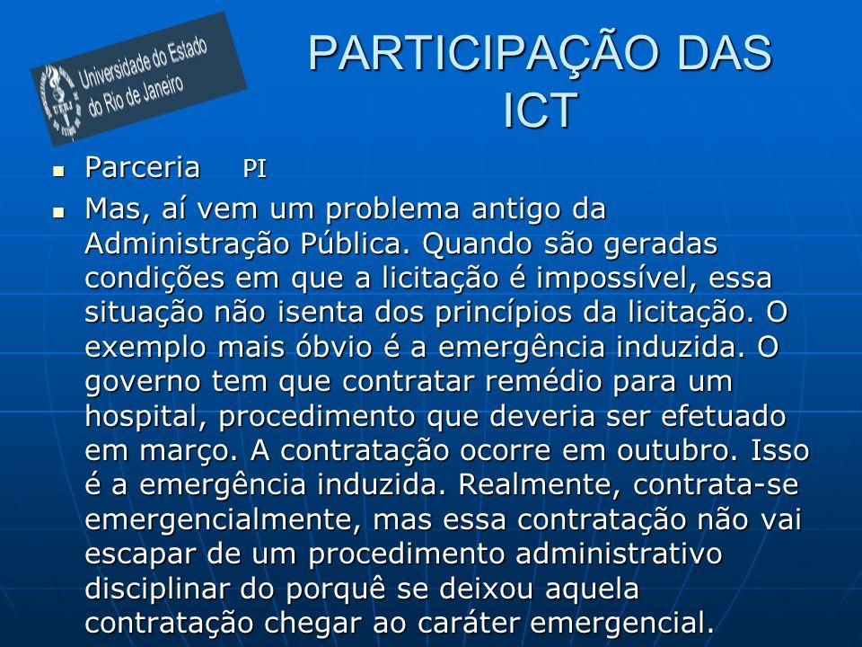 PARTICIPAÇÃO DAS ICT Parceria PI
